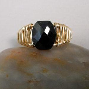 Faceted Black Zircon Wire Weaved Ri..
