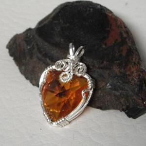 Wire Wrapped Swarovski Crystal Hear..