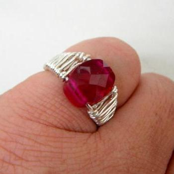 Faceted Red Zircon Wire Weaved Ring
