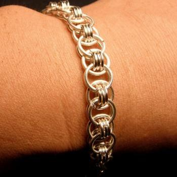 Silver Helm's Chainmaille Bracelet